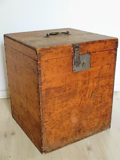 Mooie Houten Box.Antiek Houten Kistje Kist Theekist Mooi Slot 42x35x34cm