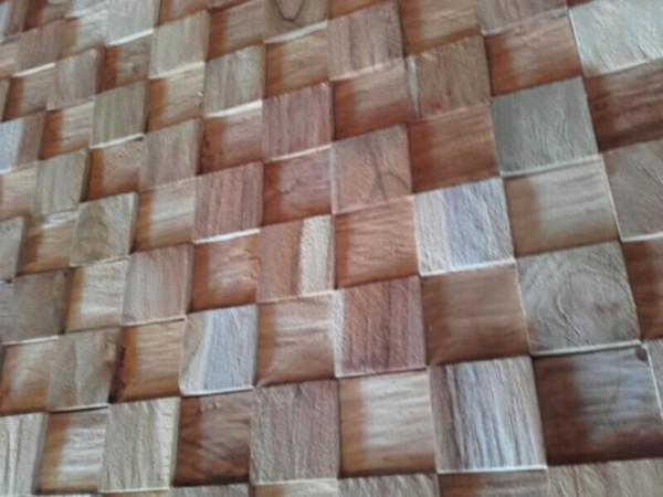 houtstrips cube robuuste stoer industriele wand muur behang ...