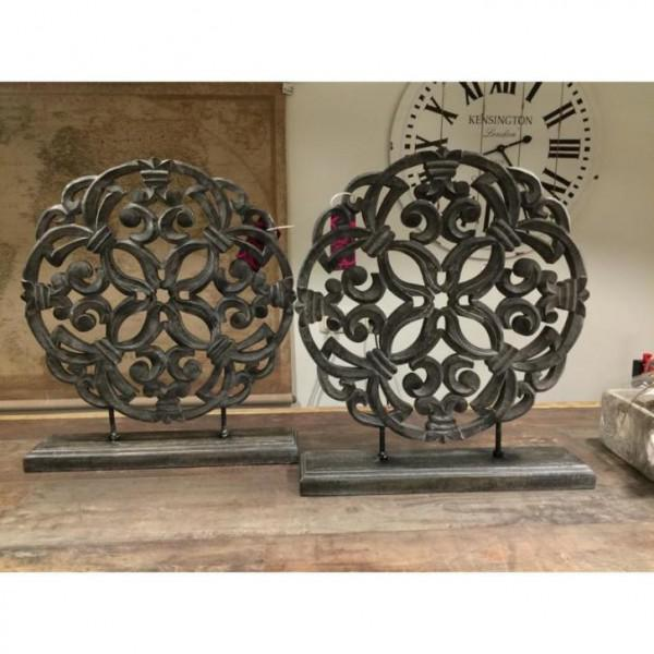Ornament rond paneel raam decoratie grijs for Decoratie raam