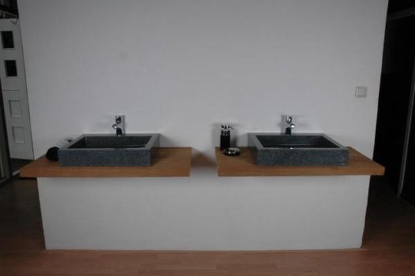 Badkamer meubels natuursteen wastafels oud hout - Foto badkamer meubels ...