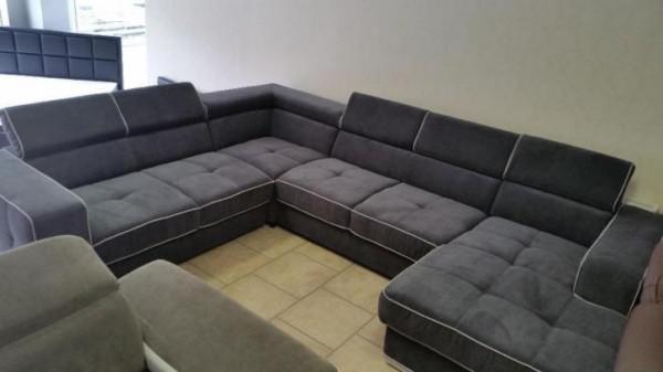 Showmodel u vorm hoekbank grijs met lounge verstelbaar sale