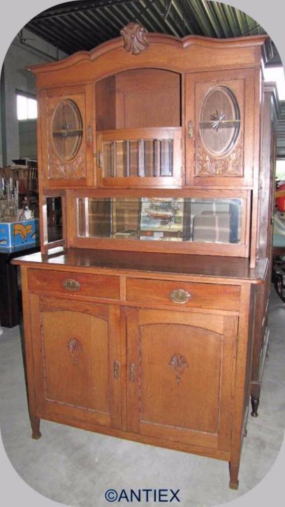 9581 antieke buffetkast oud eiken met geslepen glas 195 for Grote spiegels te koop
